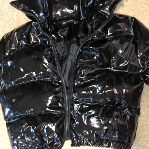 PrettyLittleThing Black Vinyl Puffer Jacket